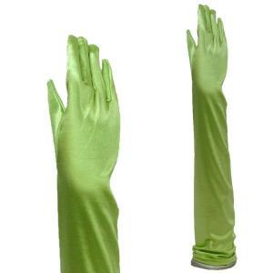 サテン手袋 カラーグローブ レディース 超ロング丈 TS-LL アップルグリーン|bourree