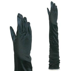 サテン手袋 パーティーグローブ 結婚式 ブライダル フォーマル手袋 超ロング丈 TS-LL 黒|bourree