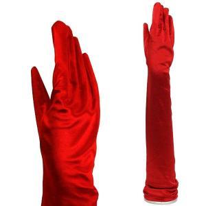 サテン伸縮手袋 パーティーグローブ フォーマル手袋 超ロング TS-LL ディープレッド 赤|bourree