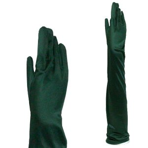 パーティーグローブ サテン手袋 フォーマル手袋 超ロング丈 TS-LL 深緑|bourree