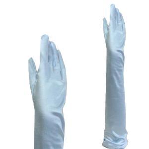 サテン手袋 グローブ レディース超ロング丈 TS-LL 水色|bourree