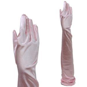 サテン手袋 グローブ レディース超ロング丈 TS-LL シェルピンク|bourree