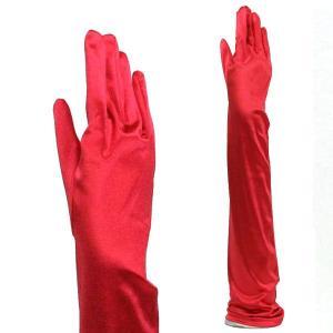 サテン手袋 グローブ レディース超ロング丈 TS-LL シグナルレッド|bourree