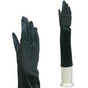 サテングローブ 手袋 レディース 結婚式 ブライダル パーティーグローブ フォーマル手袋 ミディアム丈 TS-M 黒 ブラック|bourree