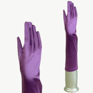 カラー サテン手袋 グローブ レディース ミディアム丈 TS-M 藤紫|bourree