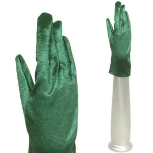 サテン手袋 伸縮手袋 グローブ 結婚式 ブライダル パーティーグローブ フォーマル手袋 ショート丈 マラカイトグリーン|bourree