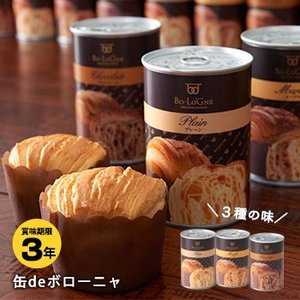 非常食 3年保存 缶deボローニャ プレーン メープル チョコレート 缶詰パン パンの缶詰