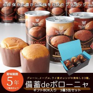 非常食 備蓄deボローニャ 3種6缶セット プレーン・メープル・ライ麦オレンジ 5年保存 賞味期限5年 ブリオッシュパン|bousai