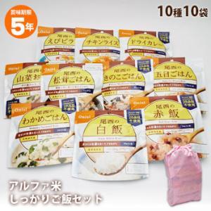 非常食 避難食品 セット 尾西食品のアルファ米10種 しっかりご飯セット