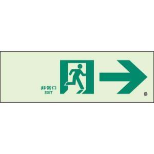 蓄光式通路誘導標識 非常口→ N夜光両面テープ2本付 ユニット 319-65B|bousaikeikaku