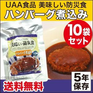 非常食 美味しい防災食 ハンバーグ煮込み 10袋セット(長期保存食 災害用 5年保存 レトルト)|bousaikeikaku