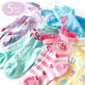女の子 靴下 | 透明感のあるシースルー! リボンやイチゴ柄の ラブリーデザイン シースルーソックス クルー丈 5足セット 送料無料|box408