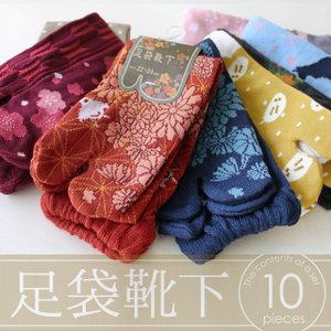 靴下 レディース 足袋 ソックス 10足セット / モダン和風シリーズ / 22-24cmサイズ / 送料無料|box408