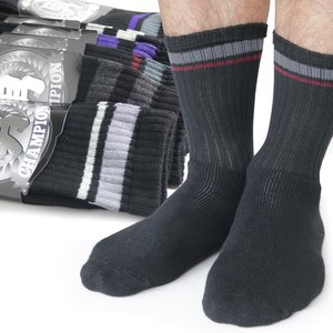 靴下 メンズ パイル ソックス ブラックベース / 1足より|box408