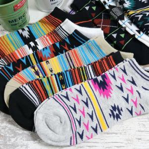 靴下 メンズ 10足セット ネイティブデザイン くるぶし ショート ソックス 送料無料|box408