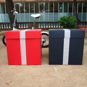 特大ボックス(赤/黒)50センチ角 白リボン付き|boxstore-net