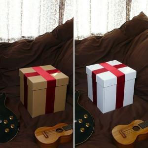 特大ボックス(クラフト/白)30センチ角 赤リボン付き|boxstore-net