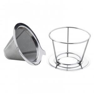 ステンレス製のコーヒードリッパー ドリップ 器具 再利用可 二層メッシュ スタンド 分離 エコ コーヒーフィルター コップ 両用型 マグカップ ペーパーレス 紙フ|bozu