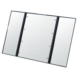 LEDメイクアップ三面鏡 卓上ミラー 化粧鏡 折りたたみ 角度自由調整 スタンドミラー 軽量 LEDライト付き コンパクト 約縦15.4×横12×厚1.4cm(折りたたみ時)、縦|bozu