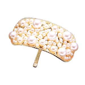 簡単おしゃれヘアフック パール ヘアアクセサリー バレッタ風 ヘアゴム 髪留め 二次会 パール かわいい 髪飾り 入園式 入学式 結婚式 飾り付きヘアピン ゴール bozu