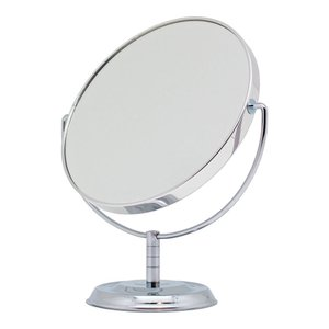メリー 拡大鏡約5倍付卓上ミラー シルバー No.5880 本体:198×173×87mm、鏡面:φ145mm|bozu