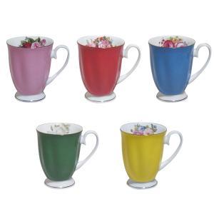 ロイヤルアーデン ボーンチャイナ カラー マグカップ バラ柄 Φ8.5×H11cm(取っ手を含む:W11.5cm)|bozu