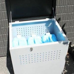 代引不可 組み立て式 ダストボックス60 DB-60 グレー×ブラック ガレージ ゴミボックス ゴミ箱 水洗い ストッカー 屋外 ベランダ 大型 ふた付 穴あき W60.5×|bozu