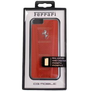 フェラーリ iPhone6/6s 458 レザー ドット ハードケース シルバーPH / レッド F...