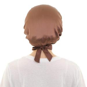 ナイトキャップ シルク100% 髪 うるつや 通気性 枝毛や切れ毛 防ぐ 頭冷えから守る ゴム圧迫感せず (ブラウン)|braggart4