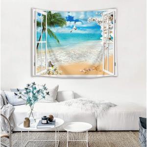 LB 砂浜の風景タペストリー 天晴れのビーチ インテリア 多機能壁掛け ファブリック装飾用品 おしゃれ モダンなアート 模様替え 部屋 窓カ|braggart4