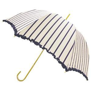 ピンクトリック 長傘 日傘/晴雨兼用 ストライプ オフホワイト×ネイビー 8本骨 58cm UVカット 97% 以上 34439 braggart4
