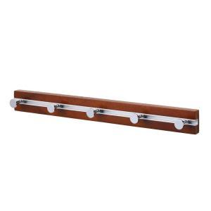 ドウシシャ壁掛けウォールハンガースライド式5連畳めるフックダークブラウン幅57×奥行5.8×高さ5....