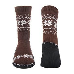 ea7ad107be761e Vihir ルームソックス メンズ靴下 室内履き ルームシューズ 滑り止め加工 自宅仕事用 ニット 暖かい もこもこ 寒気防止 両足温める