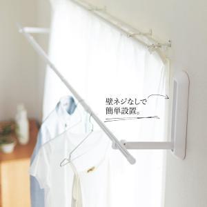 ベルメゾン 壁付け 物干し 室内 ピンで設置 省スペース 日本製 花粉 梅雨 長雨対策「浮かせて干す...