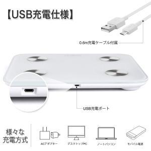 RENPHO 体重・体組成計 USB充電 体重計 スマホ連動 体脂肪計 体重/体脂肪率/皮下脂肪/内...