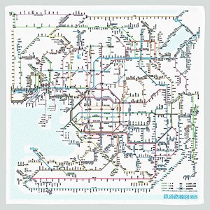 東京カートグラフィック 鉄道路線図ハンカチ 関西 日本語 RHKJ braggart4