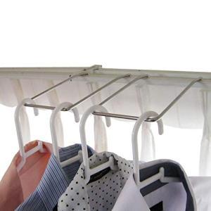 ダブルカーテンレール用 パーツ ハンガーラック2個組 室内物干し 洗濯ハンガー ハンガー収納 ランドリーラック 18-8ステンレス製 日本製|braggart4