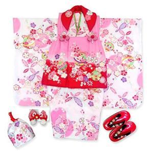 七五三 3歳 着物 セット女の子(合繊)被布セット「ピンク赤x白、鈴に梅」PHUc-14 braggart4