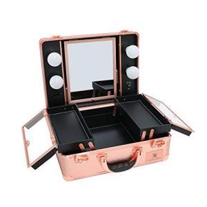 LUVODI メイクボックス プロ用 鏡付き 鏡台 LEDライト付き 卓上 ドレッサー 化粧台 大容量 調光機能付き 旅行 化粧箱(ローズゴ braggart4