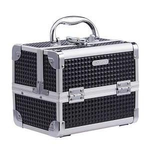 Hapilife コスメボックス 鏡付き プロ仕様 メイクボックス 小型 化粧箱 2段スライドトレイ メイク用品収納 化粧ボックス(ブラック braggart4