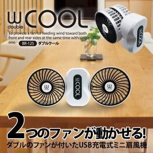 SALE!【送料無料!】ダブルファン!【USB充電式ミニ扇風...