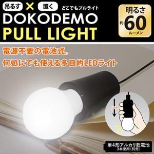 吊るす&置くOK!電池式でどこでも使える多目的LEDライト「どこでもプルライト(ブラック)DOKODEMO PULL LIGHT HRN-275」HRN275|brain8