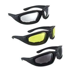 3 Pair Motorcycle Riding Glasses クリア イエロー スモーク【並行輸入品】 brainpower
