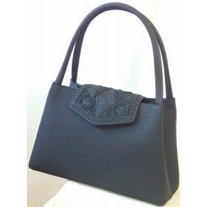 日本製 「岩佐」 かぶせ部分コード刺繍 大きめサイズ  トートフォーマルバッグ|brand-formal-store