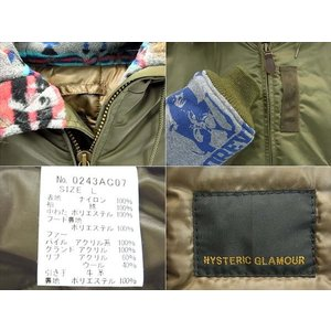 中古 美品 HYSTERIC GLAMOUR 0243AC07 MA-1 コートL オリーブ ヒステリックグラマー PRIMALOFT プリマロフト|brand-life|02