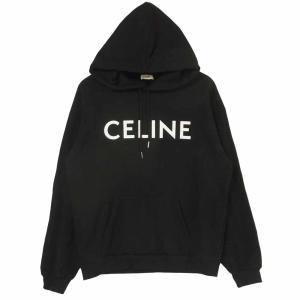 CELINE セリーヌ 21SS 2Y321052H ルーズ スウェット シャツ ロゴ プリント プルオーバー パーカー ブラック系 L【美品】【中古】|brand-life