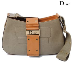 クリスチャン・ディオール Christian Dior ショルダーバッグ ストリートシック カーキ/キャメル ジャガード/レザー|brand-pit