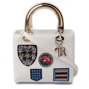 ディオール レディ ディオール ハンドバッグ/ショルダーバッグ Christian Dior 2014コレクション パッチワーク/ホワイト|brand-pit