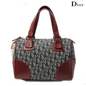 クリスチャン ディオール Christian Dior ミニボストンバッグ ジャガードキャンバス ロゴ ルージュ/ブルー SLO44094|brand-pit