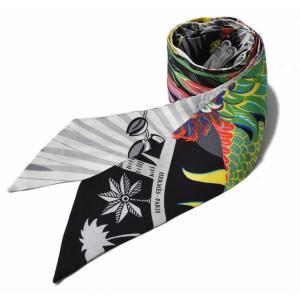 エルメス ツイリー スカーフ  HERMES シルクツイル フラワーモチーフ ホワイト/マルチ